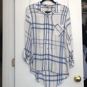 Blue & white flannel.